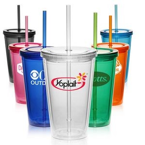 16oz Double Wall Acrylic Tumbler with Straw