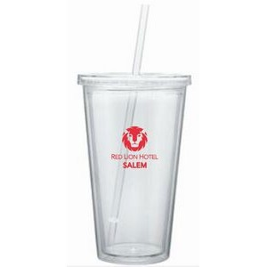 16 Oz. Double Wall Tumbler Acrylic Cup W/Retractable Straw